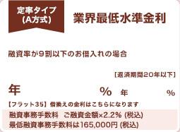 A方式 業界最低水準金利 返済期間20年以下でお借入れの場合 手数料(消費税別) 融資額×2.0%